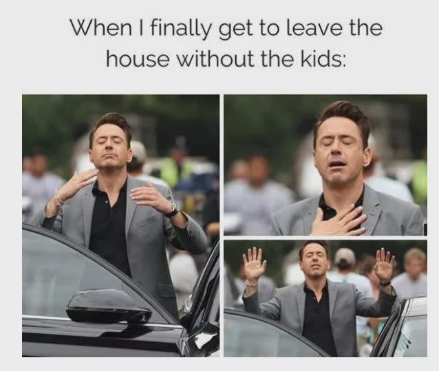 Leaving the house without kids meme