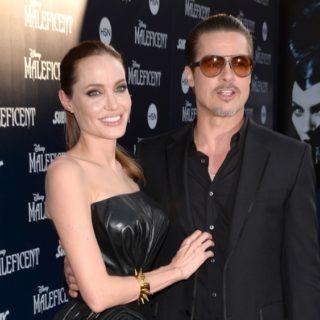 "Brad Pitt and Angelina Jolie World Premiere Of Disney's ""Maleficent"" - Red Carpet"