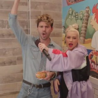 Christina Aguilera Sings for Donuts