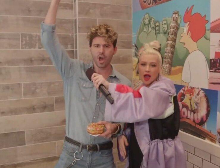 Christina Aguilera Sings for Donuts