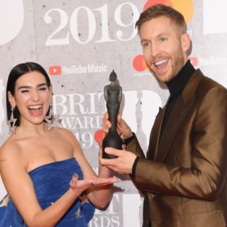 Dua Lipa and Calvin Harris The BRIT Awards 2019 - Winners Room