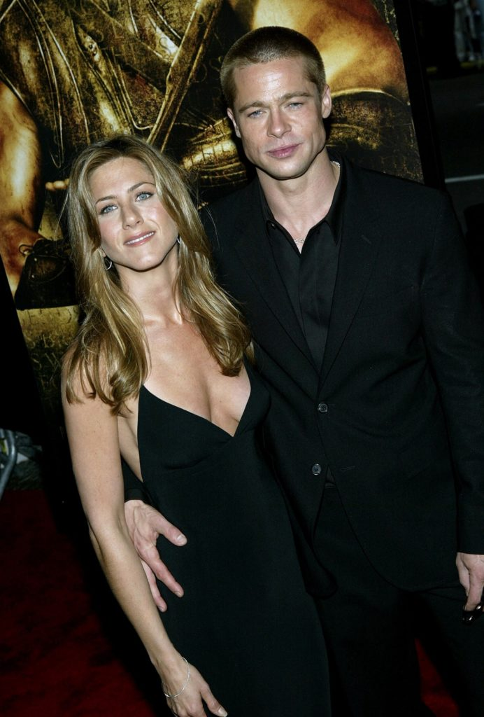 "Jennifer Aniston and her husband Brad Pitt New York Premiere Of ""Troy"""