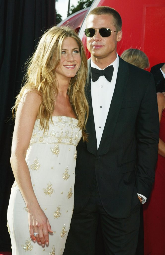 Brad Pitt and Jennifer Aniston attends the 56th Annual Primetime Emmy Awards