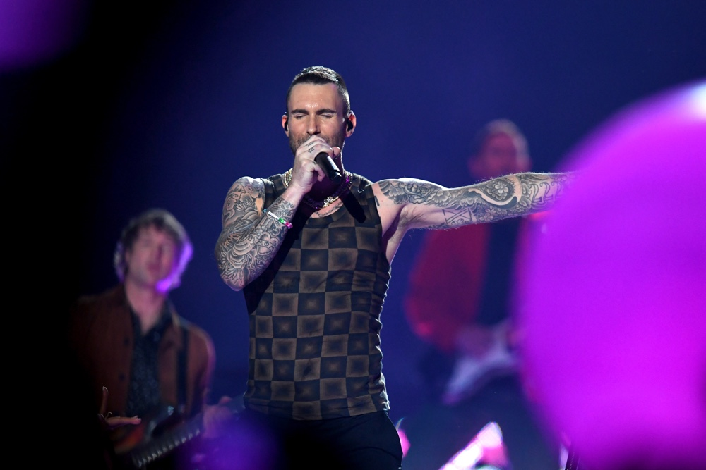 Adam Adam Levine performs during the Pepsi Super Bowl LIII Halftime Show at Mercedes-Benz Stadium on February 3, 2019 in Atlanta, Georgia.Levine Pepsi Super Bowl LIII Halftime Show