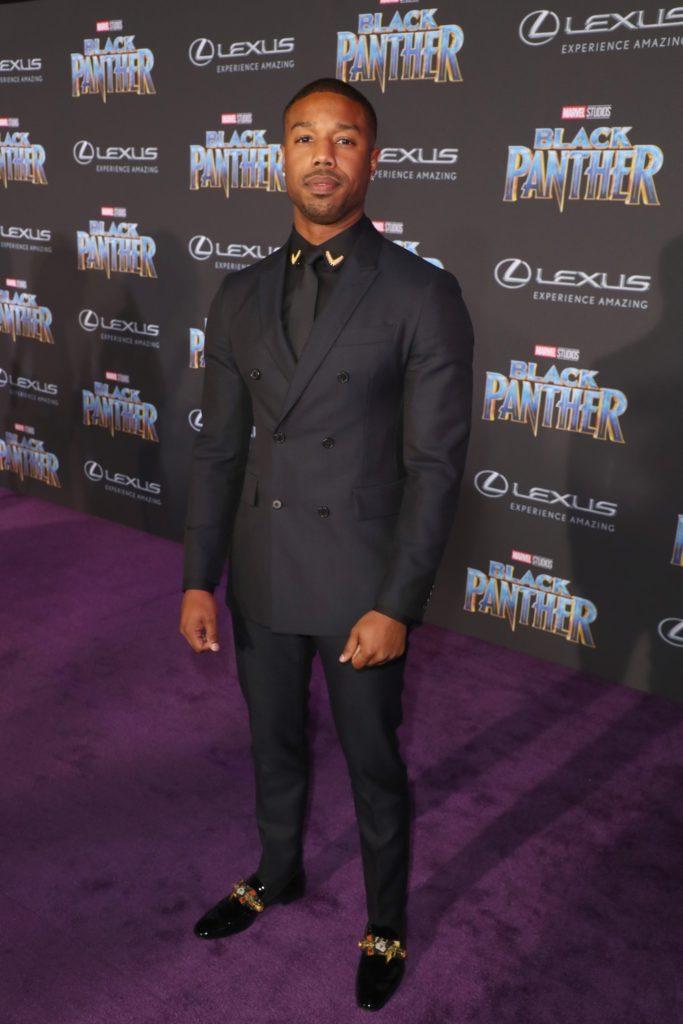 Michael B Jordan World Premiere of Marvel Studios? Black Panther, presented by Lexus