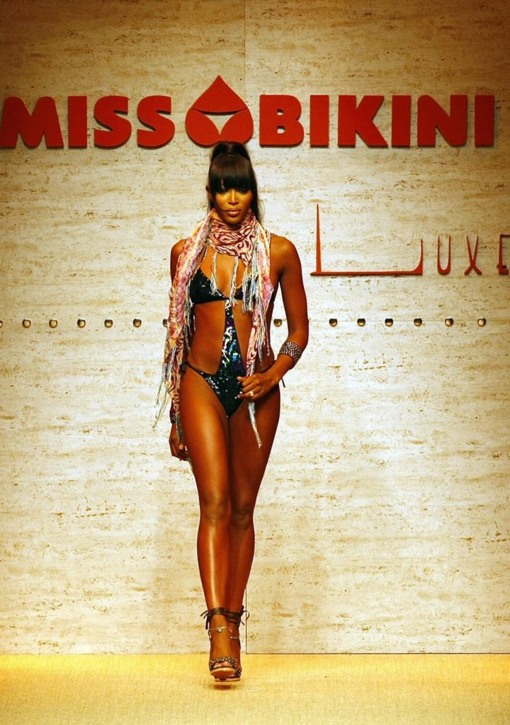 British model Naomi Campbell displays an