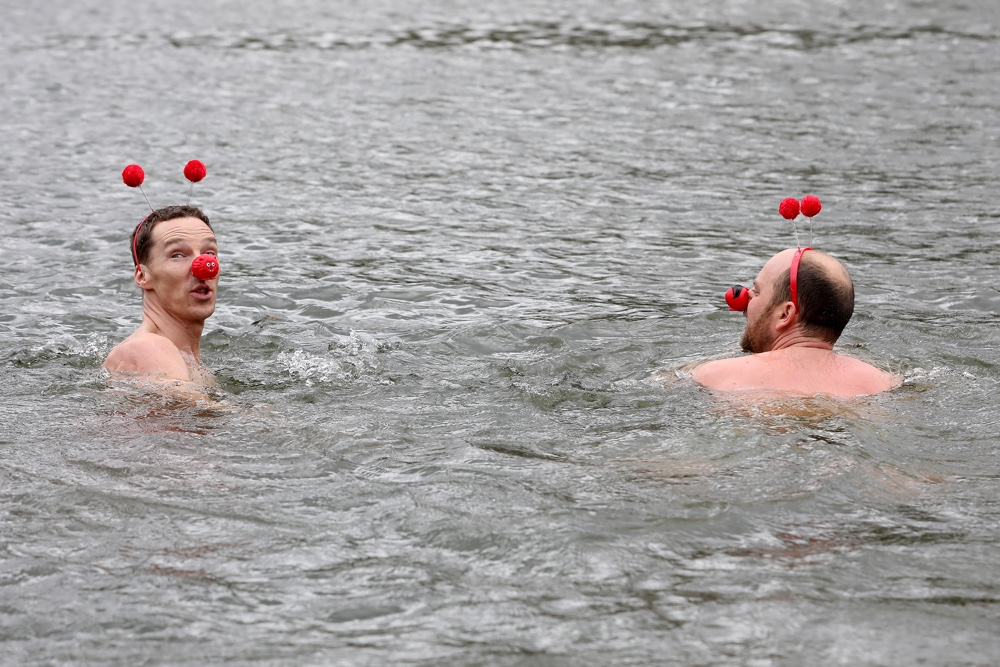 Benedict Cumberbatch Charity Swim For Comic Relief