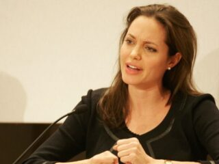 Angelina Jolie US star and UN Refugee Ambassador for th