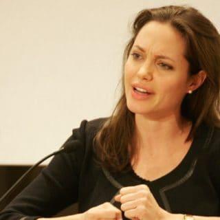 Angelina Jolie US star and UN Refugee Ambassador for th