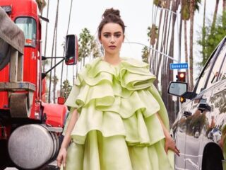 Lily Collins in Marc Jacobs
