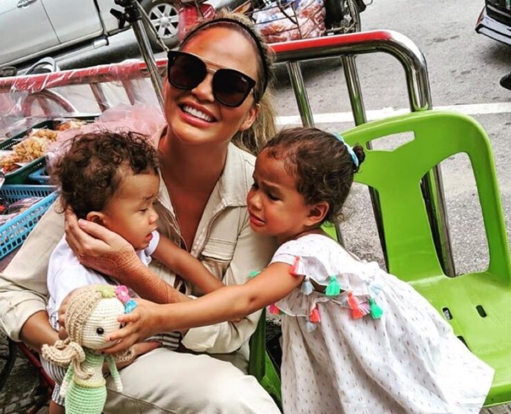 Chrissy Teigen and Luna and Miles Legend
