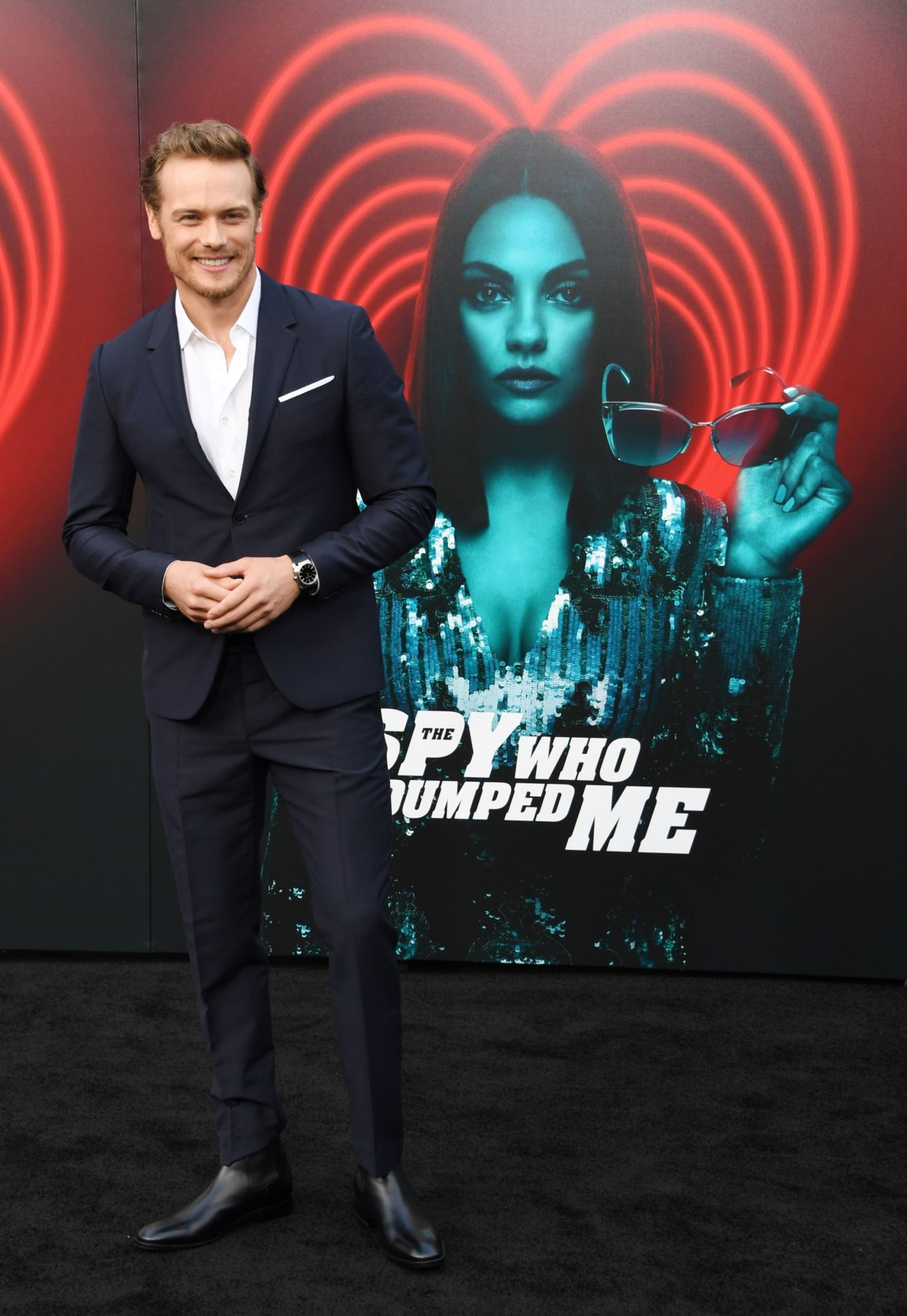 """Sam Heughan arrives for the premiere Of Lionsgate's """"The Spy Who Dumped Me"""""""