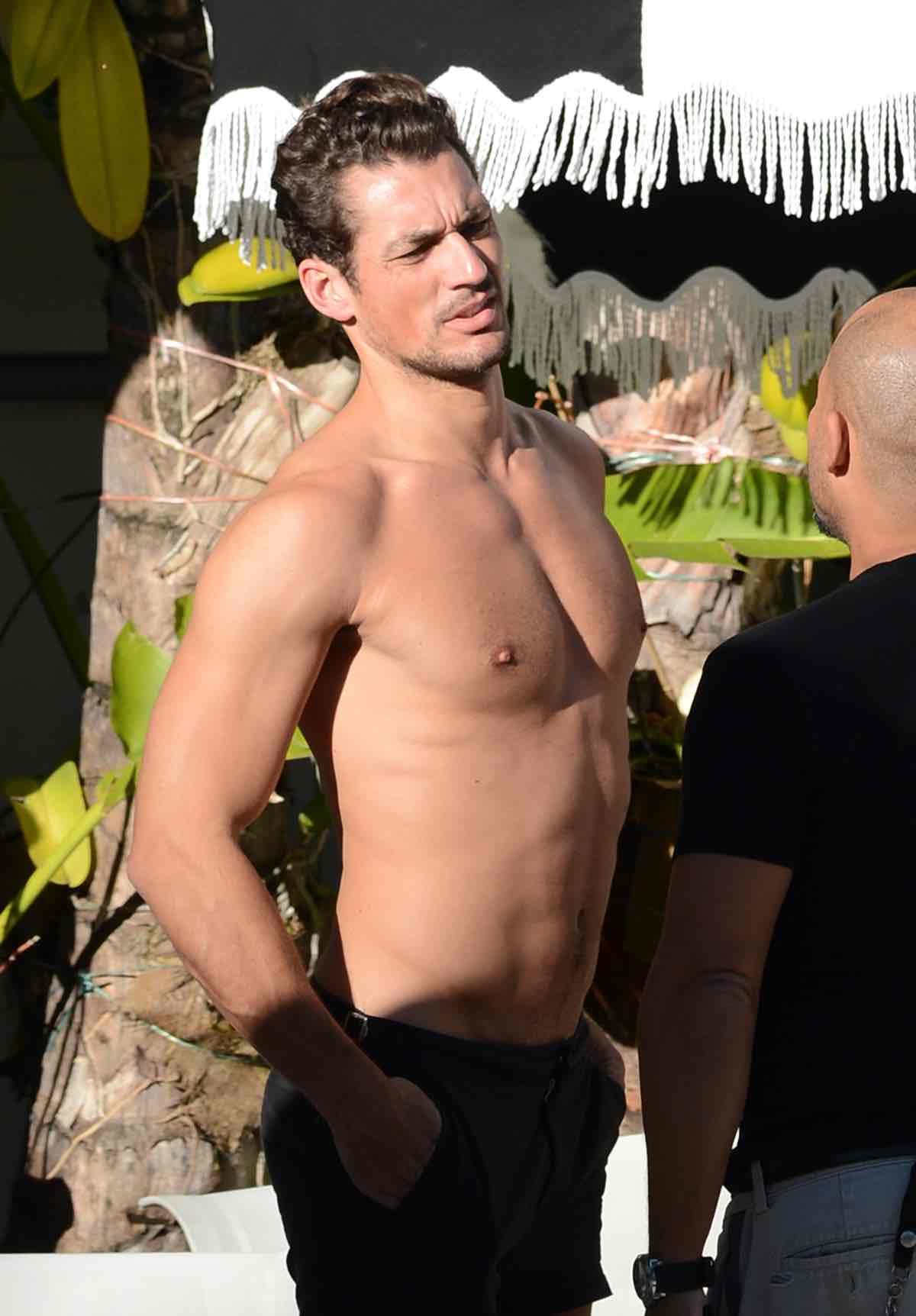 British Model David Gandy Poses Poolside in South Beach