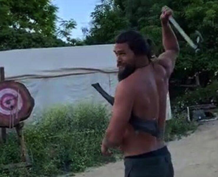Jason Momoa ax throwing