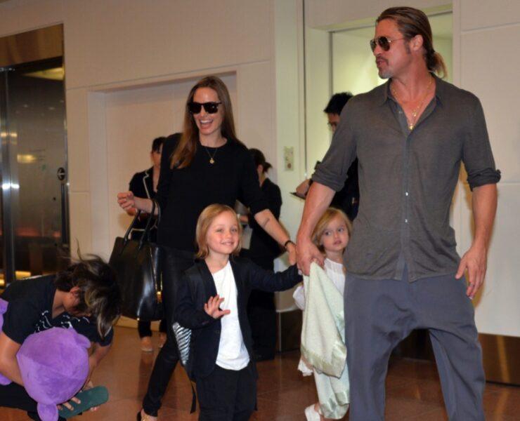 Brad Pitt and Angelina Jolie with kids
