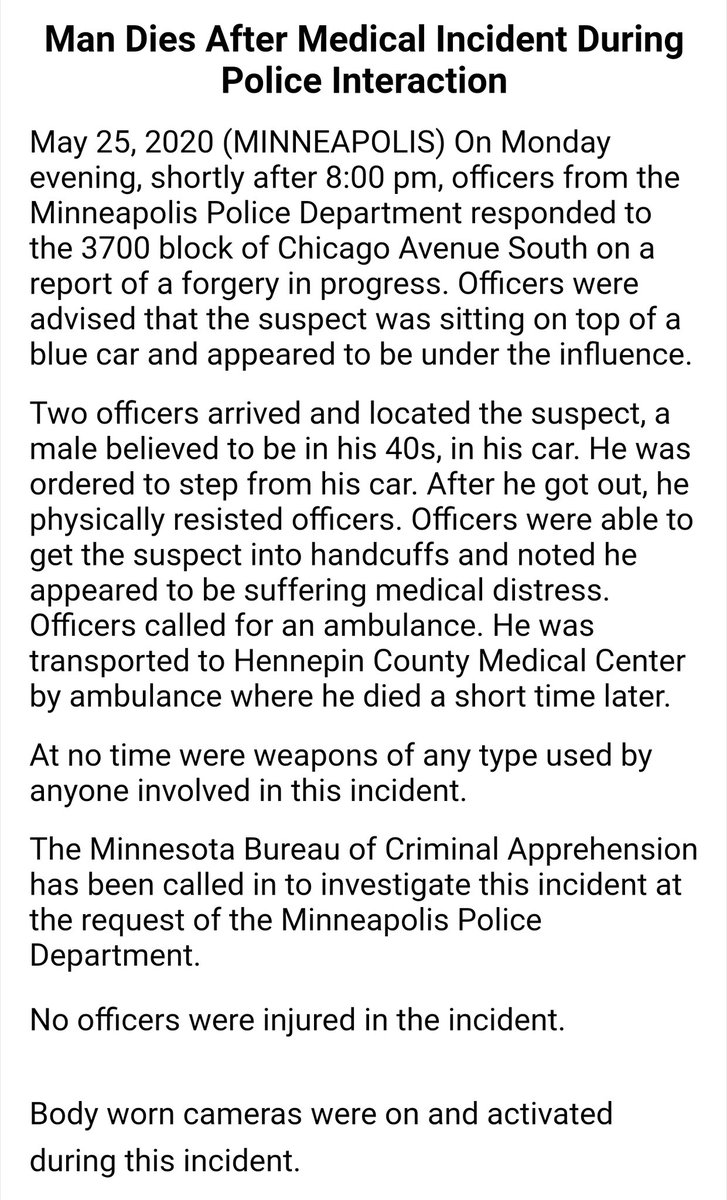 How the Minneapolis Police Department initially reported George Floyd's death
