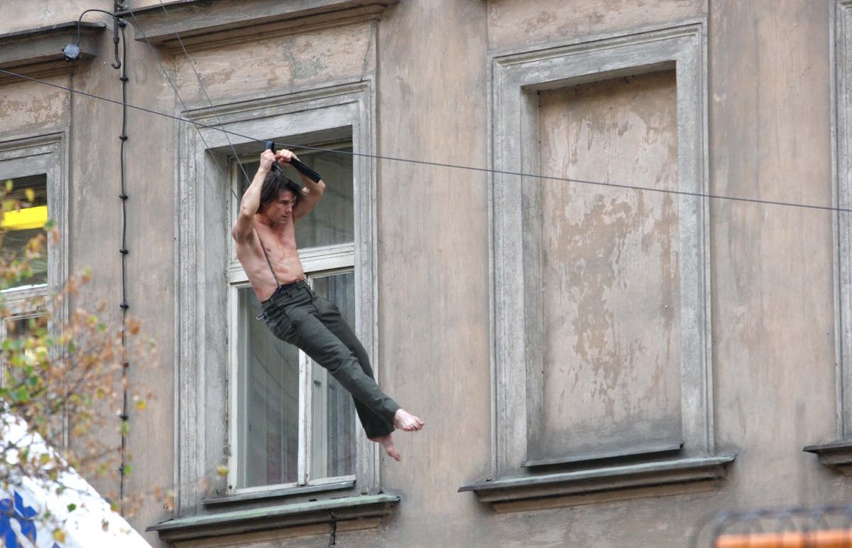 Tom Cruise films scenes for new Mission Impossible 4 movie in Prague.