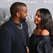 Kim Kardashian West (R) and husband rapper Kanye West