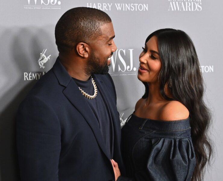 Kim Kardashian West (R) and husband rapper Kanye West