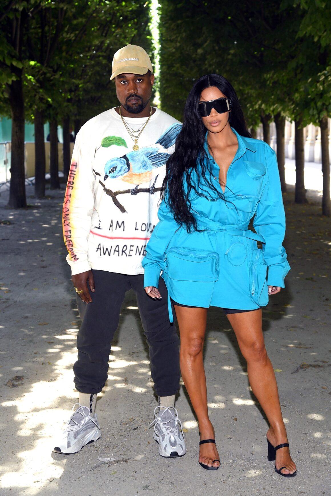 Kanye West and Kim Kardashian at Louis Vuitton: Front Row - Paris Fashion Week - Menswear Spring/Summer 2019