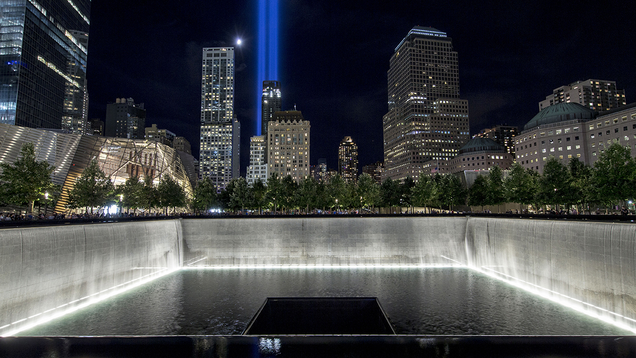 2016 9/11 anniversary tribute in lights.