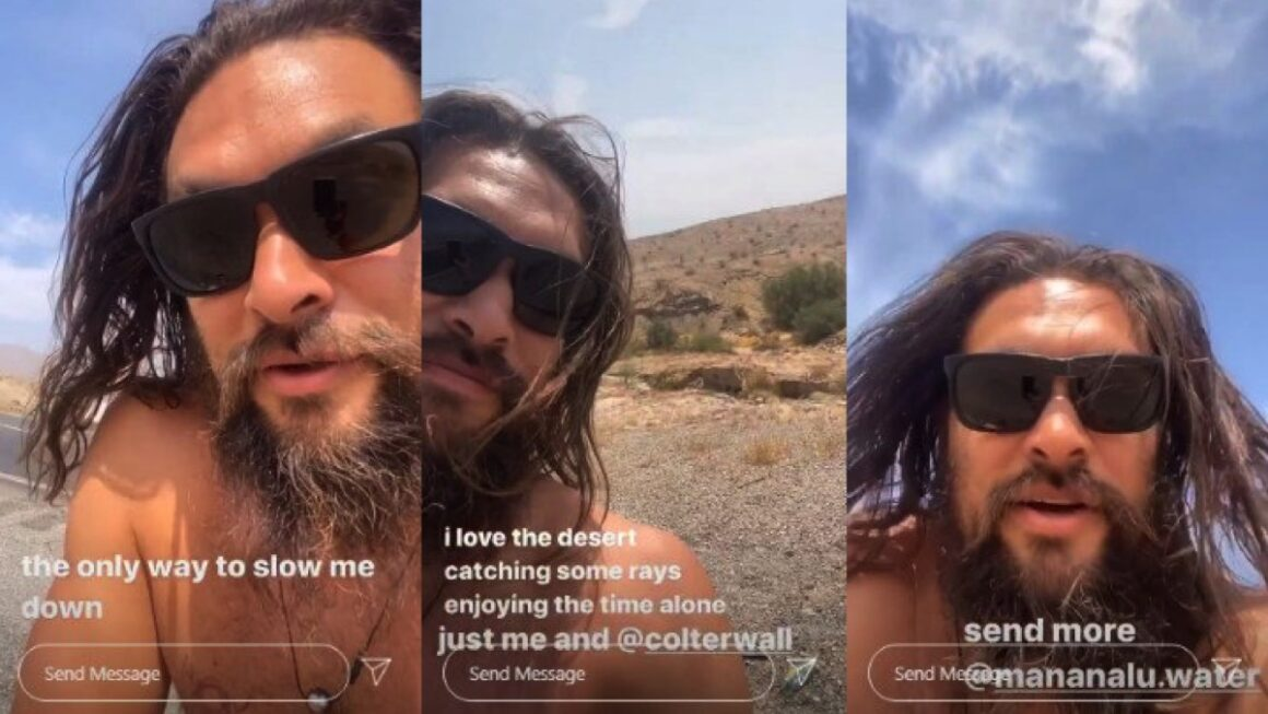 Jason Momoa Shares Shirtless Video After Car Breaks Down on Side the Road