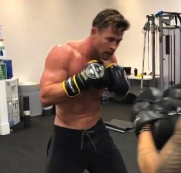 Chris Hemsworth shares shirtless boxing video