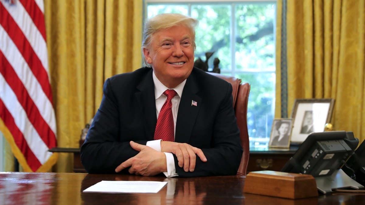President Trump Meets With Workers In White House On Economic Plan