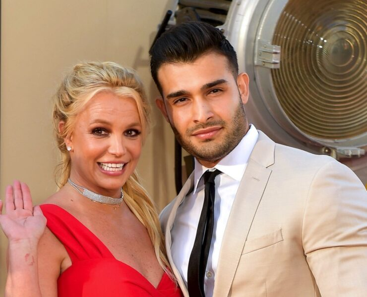 "Britney Spears and Sam Asghari Sony Pictures' ""Once Upon A Time...In Hollywood"" Los Angeles Premiere - Arrivals"